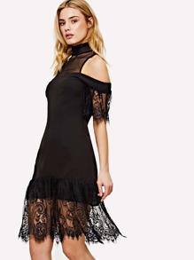 Mesh Yoke Cold Shoulder Lace Insert Dress