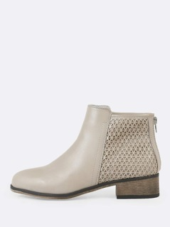 Triangle Cut Out Detail Round Toe Zip Up Bootie LIGHT GREY