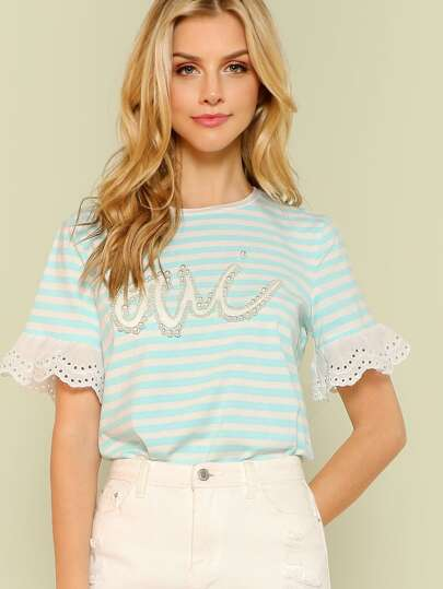 Striped Accent Tee with Eyelet Detail LIGHT BLUE