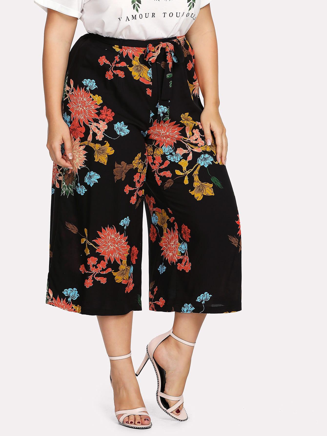 Flower Print Belted Culotte Pants spot culotte pants