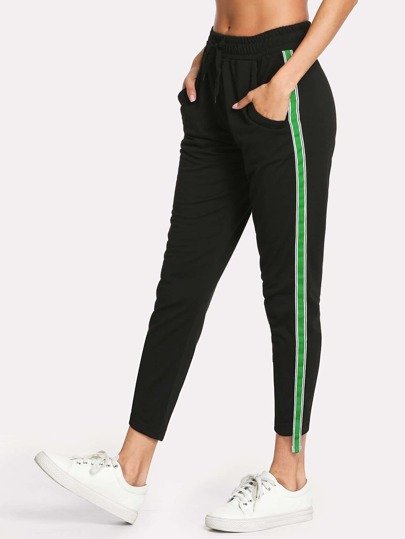 Contrast Stripe Tape Side Pants