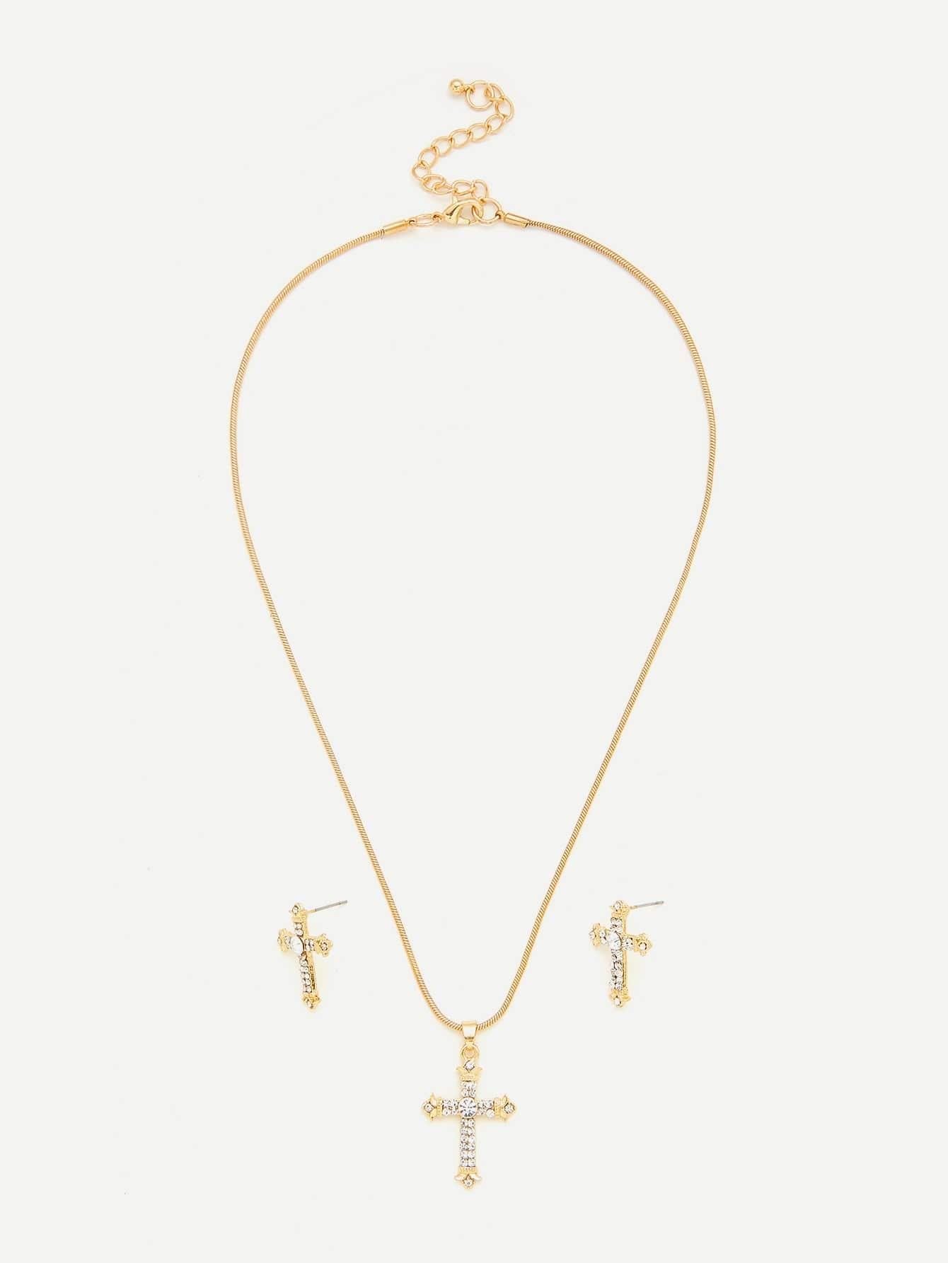 Rhinestone Cross Pendant Necklace With Earrings vintage rhinestone triangle pendant earrings