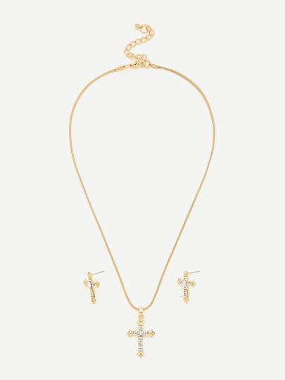 Rhinestone Cross Pendant Necklace With Earrings