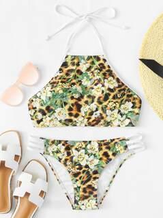 Open Back Flower & Leopard Print Bikini Set