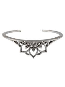 Hollow Lotus Design Cuff Bracelet