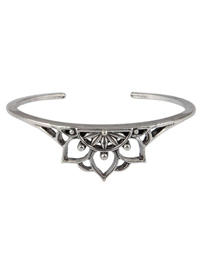 Hollow Lotus Design Cuff Bracelet