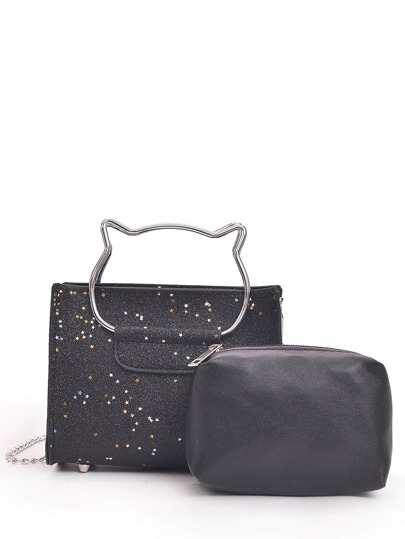 Cat Shaped Handle Glitter Shoulder Bag With Clutch