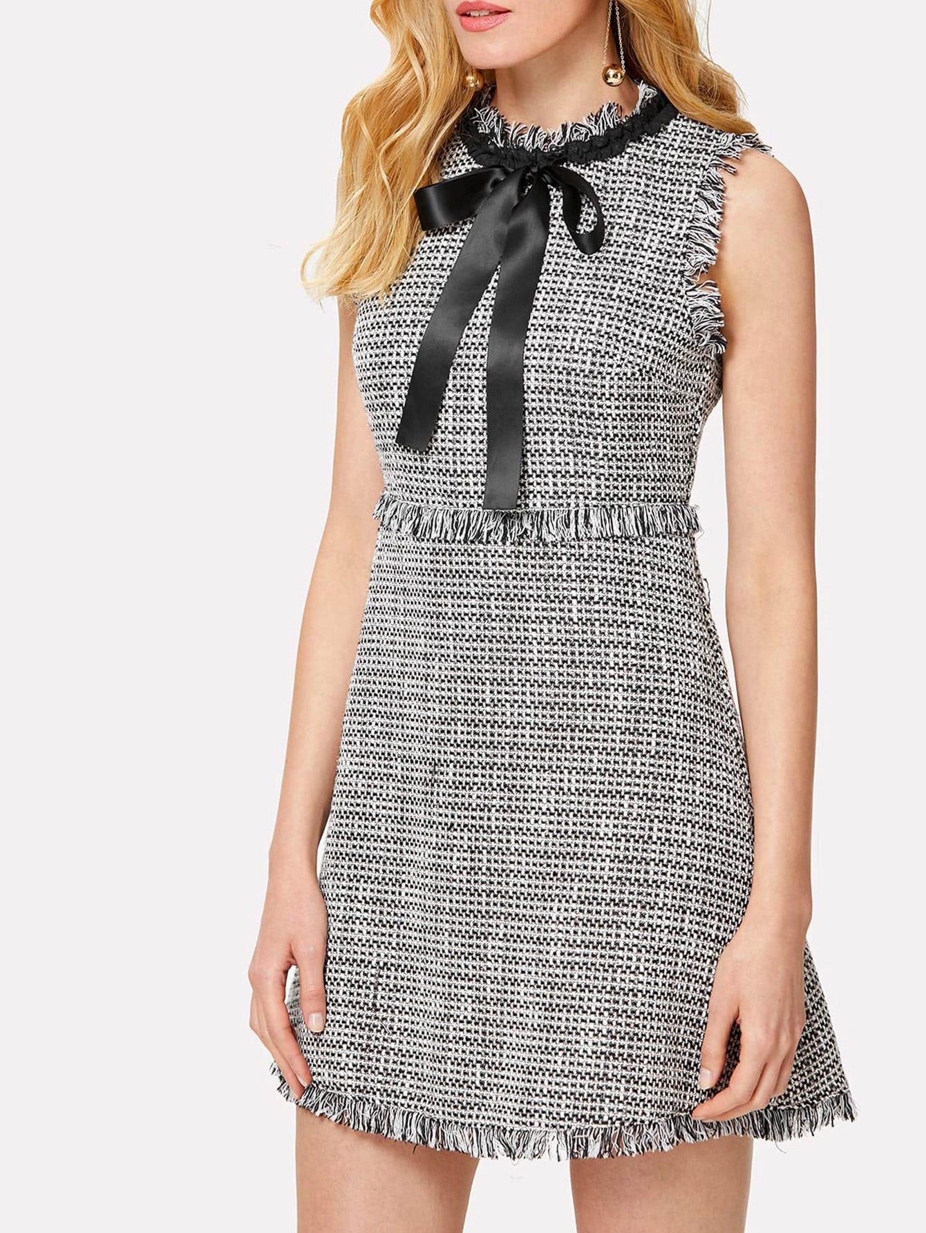 Tie Neck Fringe Detail Tweed Dress rhinestone detail frayed edge tweed skirt