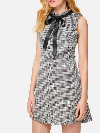 Tie Neck Fringe Detail Tweed Dress