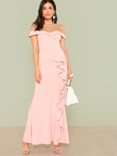 Bardot Gown Dress with Ruffle Detail PINK