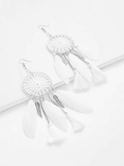 Feather & Tassel Design Drop Earrings