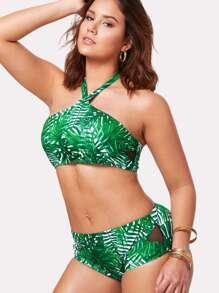 Tropical Print Halter Bikini Set