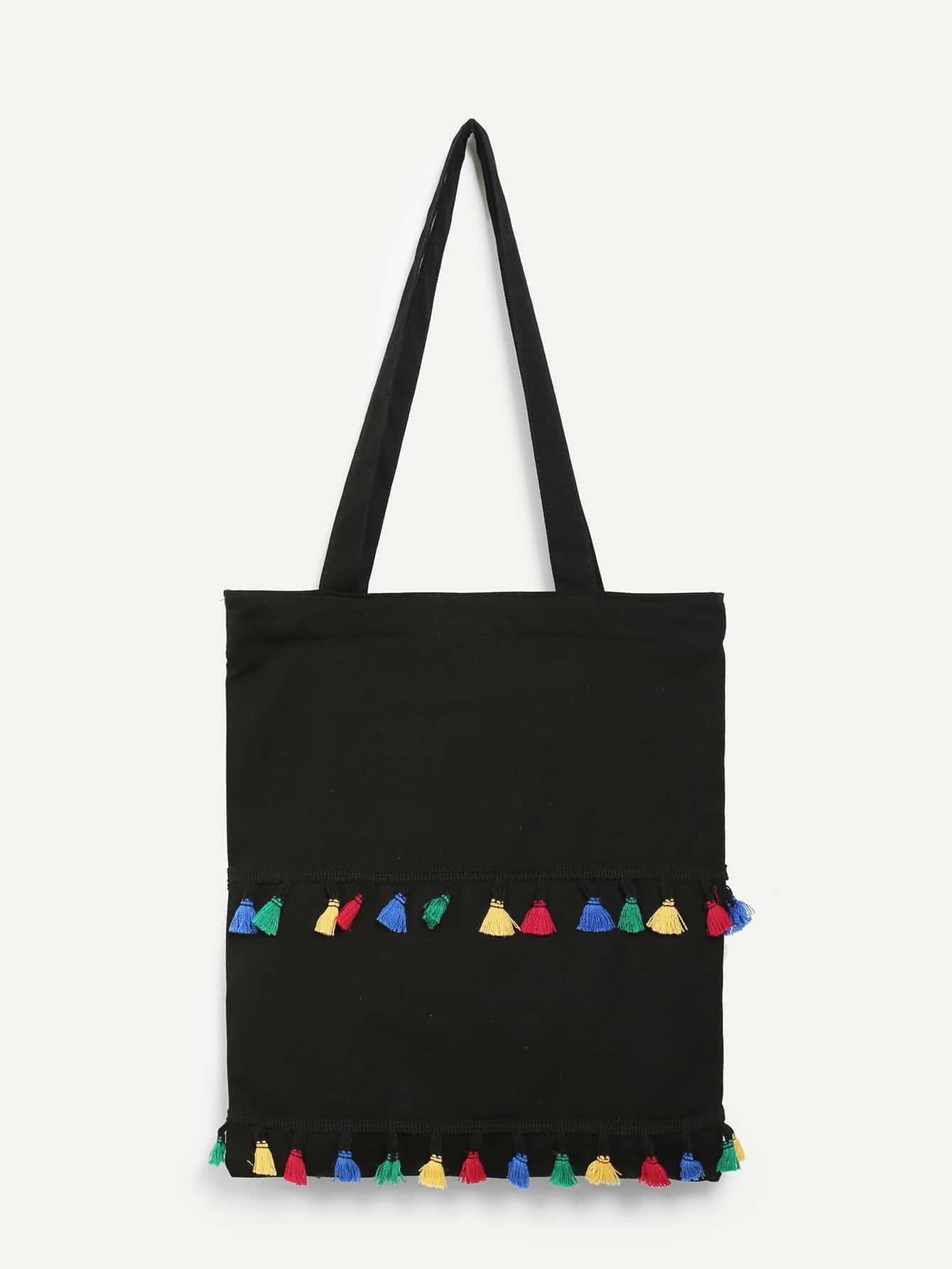 Tassel Detail Canvas Shoulder Bag