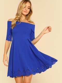 Laser Cut Fit & Flare Bardot Dress