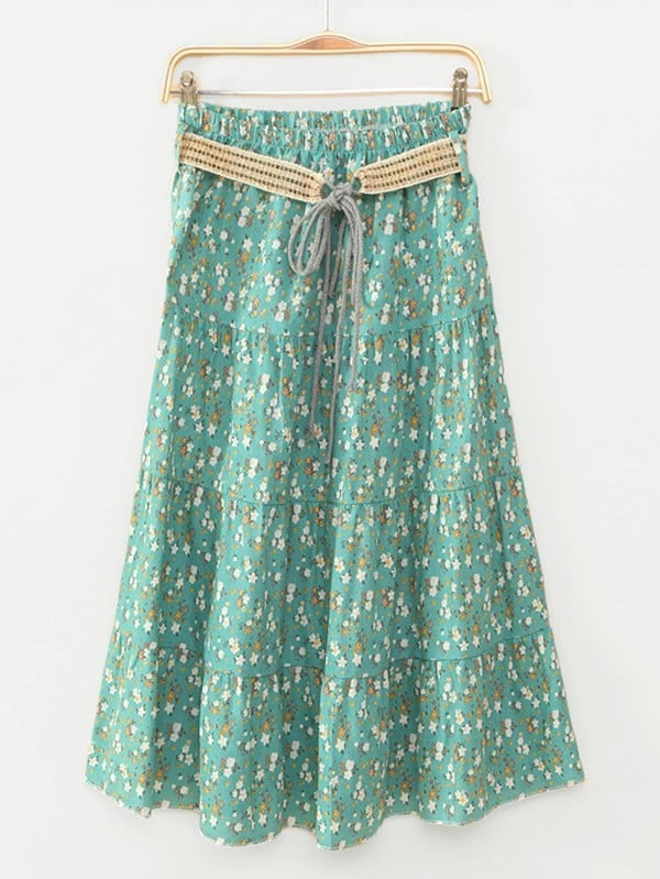 Calico Print Tiered Peasant Skirt