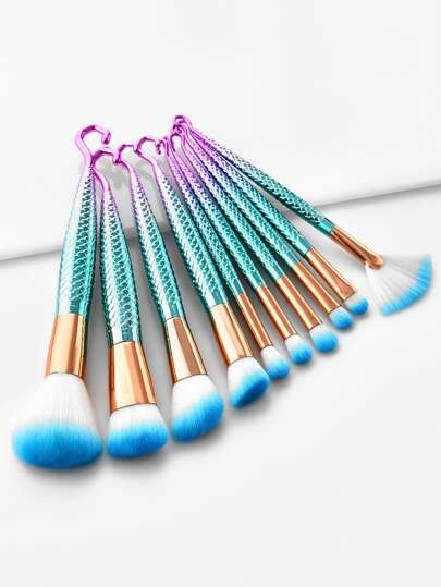Mermaid Handle Makeup Brush Set 10pcs
