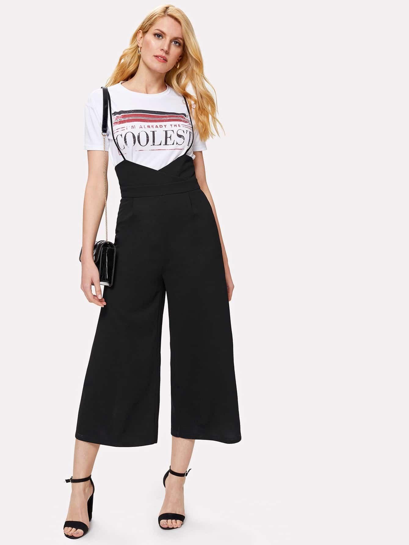 Solid Wide Leg Cami Jumpsuit tropical print wide leg cami jumpsuit