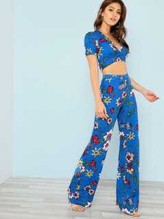 Tie Front Floral Print Crop Top with Matching Wide Leg Pants BLUE