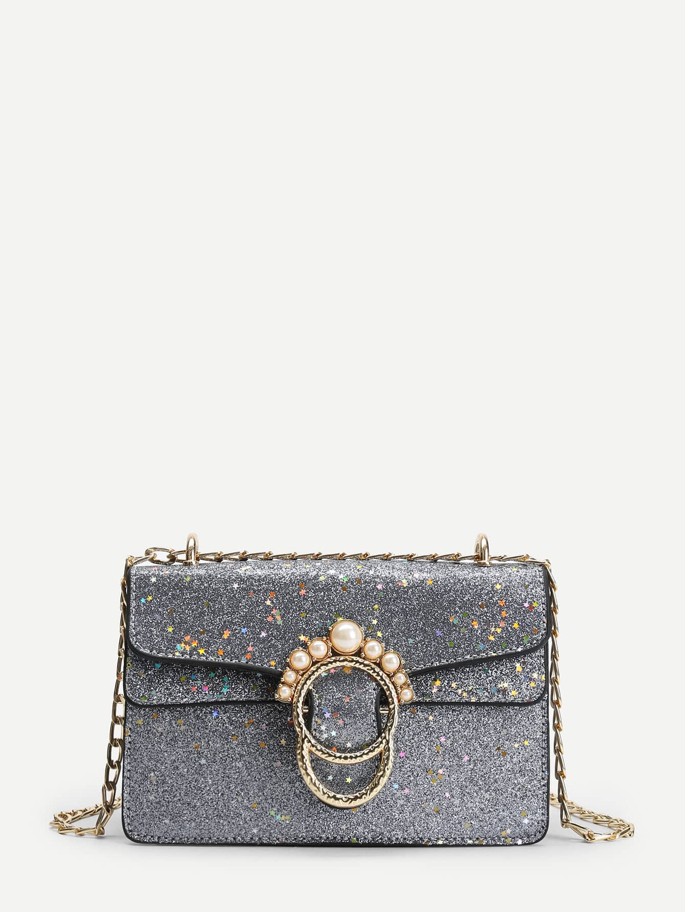 Faux Pearl Glitter Star Shoulder Bag