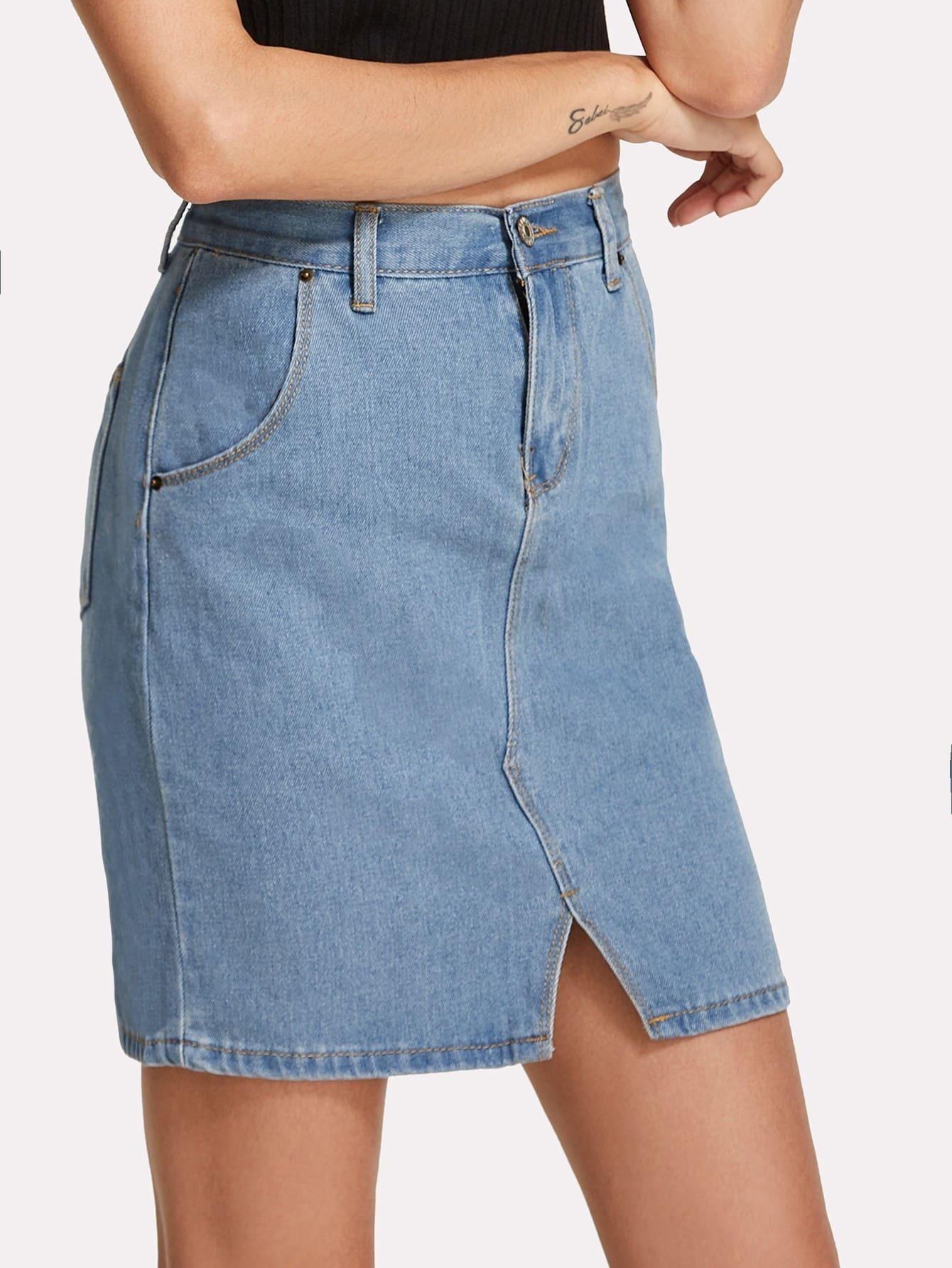 Split Front Denim Skirt tribal print split front skirt