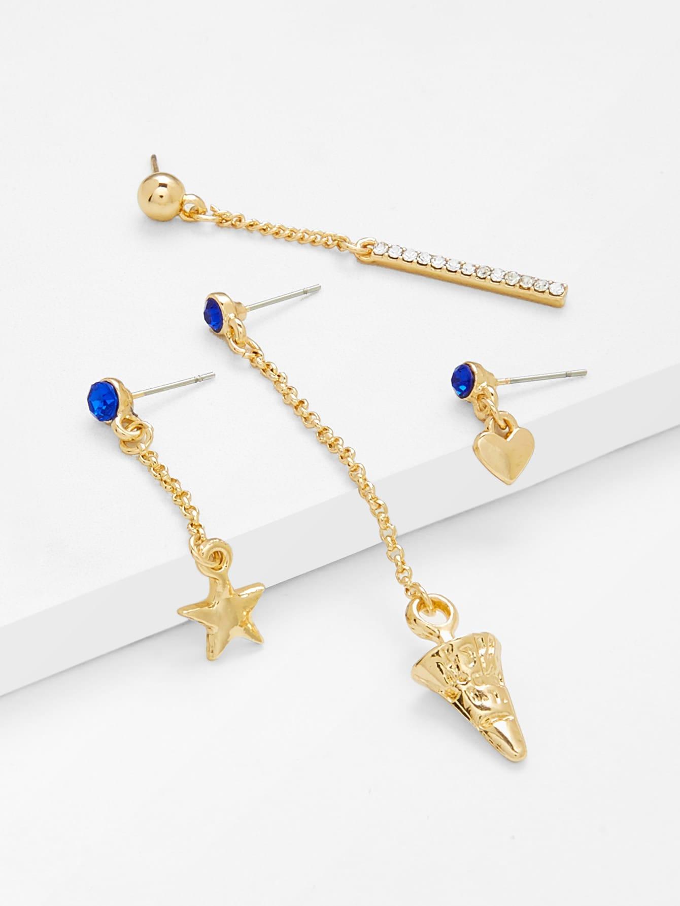 Star & Heart Design Earring Set