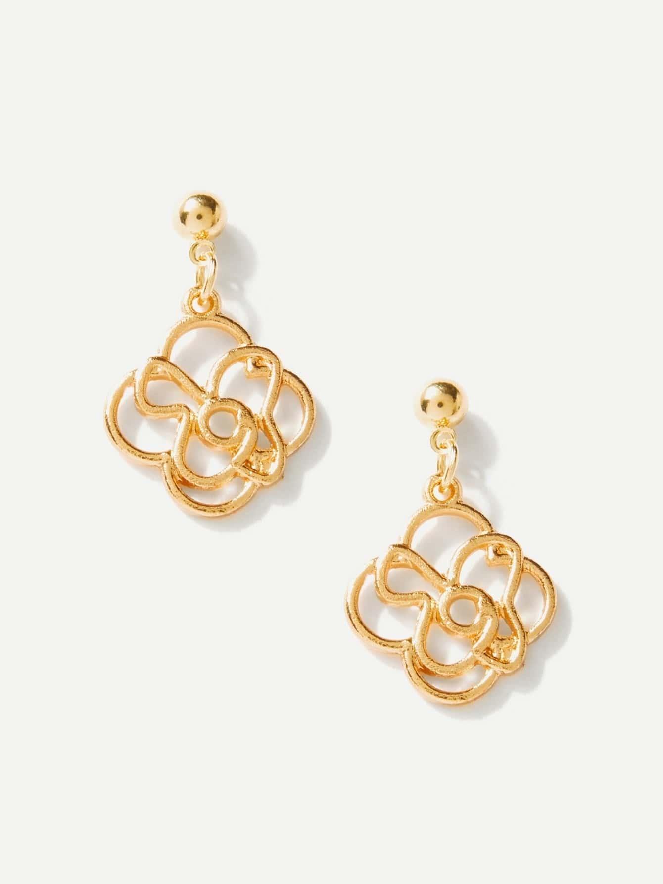 Hollow Flower Design Drop Earrings two tone hollow face design drop earrings