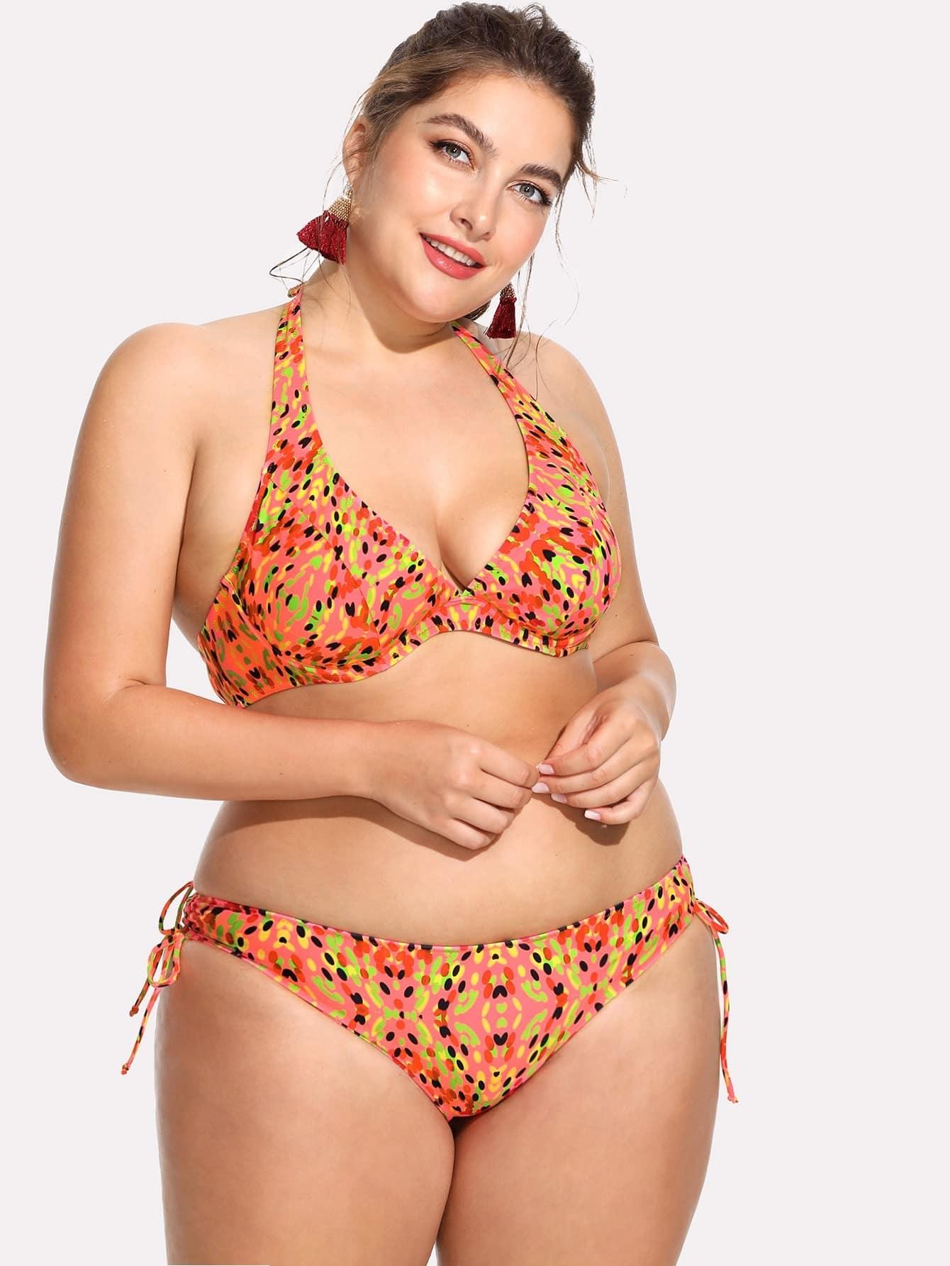 Dot Print Side Tie Halter Bikini Set flower allover print tie side bikini set