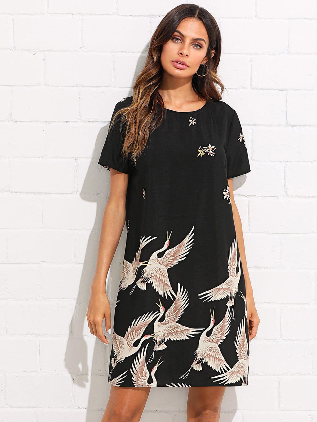Купить Платье туника с принтом фламинго, Andy, SheIn