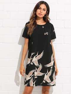 Flamingo Print Tunic Dress