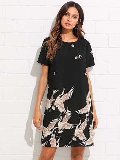 Flamingo Print Tunic Dress