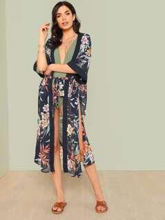 Floral Print Kimono Swim Cover Up NAVY MULTI