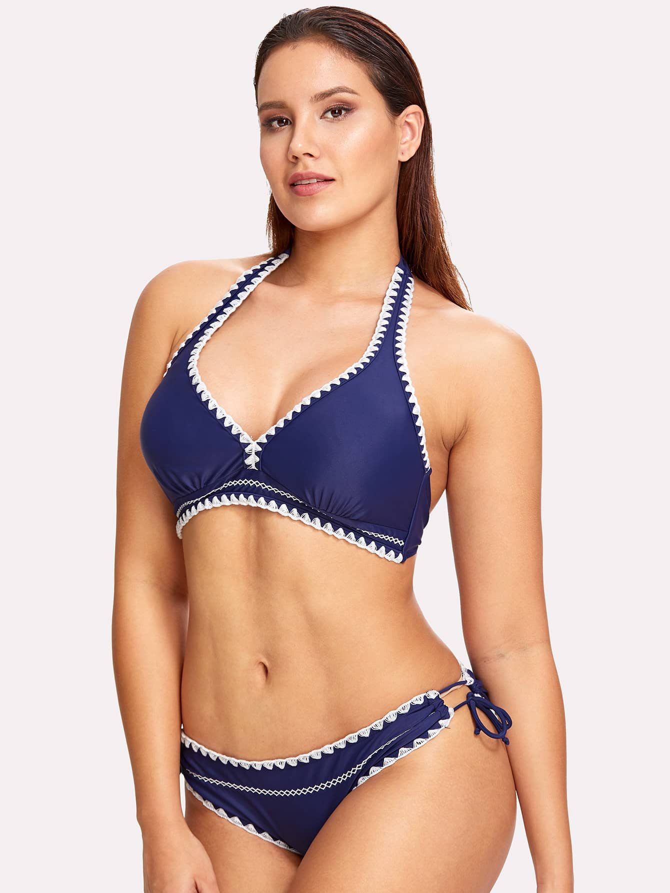 Фото Crochet Trim Bikini Set checker knot bikini set