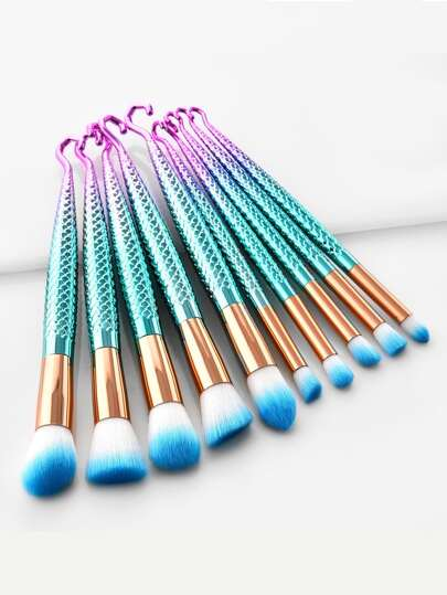 Mermaid Handle Professional Makeup Brush Set 10pcs