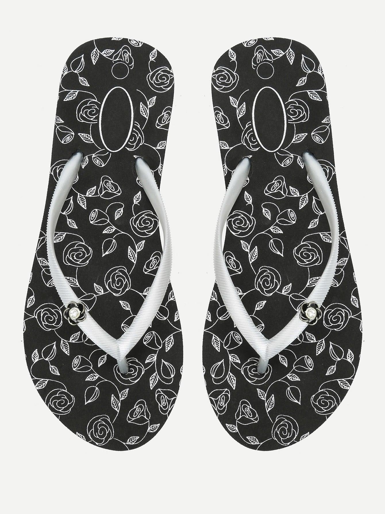 Rose Print Flip Flops tribal flower print flip flops