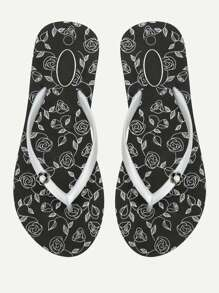 Rose Print Flip Flops
