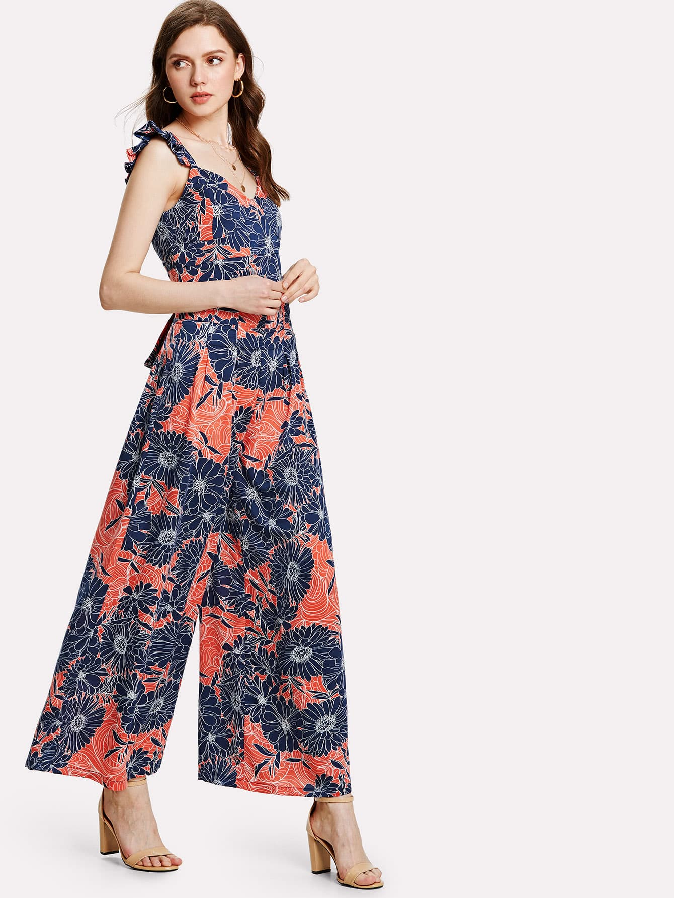 Flower Print Bow Tie Back Wide Leg Jumpsuit bow tie side wide leg pants