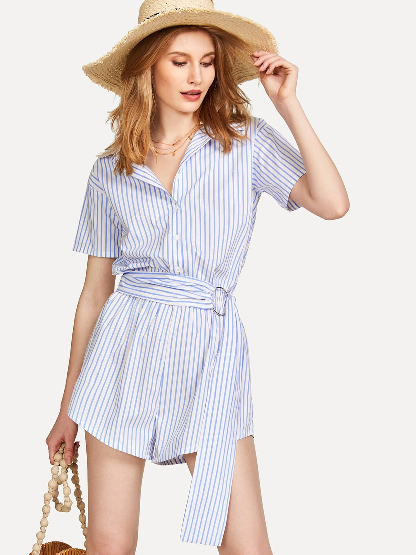 O-Ring Belted Striped Shirt Romper pu belted tartan shirt