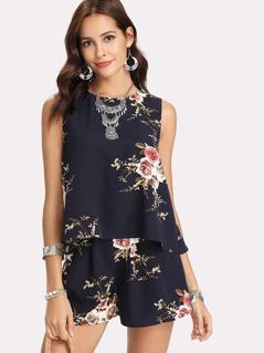 Floral Print Overlap Back Top & Shorts Set