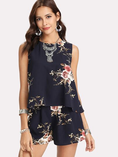 Floral Print Overlap Back Top & Shorts Set