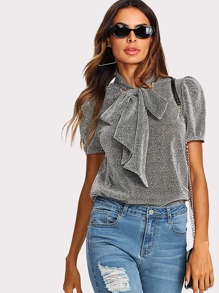 Tie Neck Puff Sleeve Glitter Top