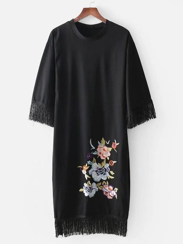 Fringe Trim Embroidery Dress dress180308201