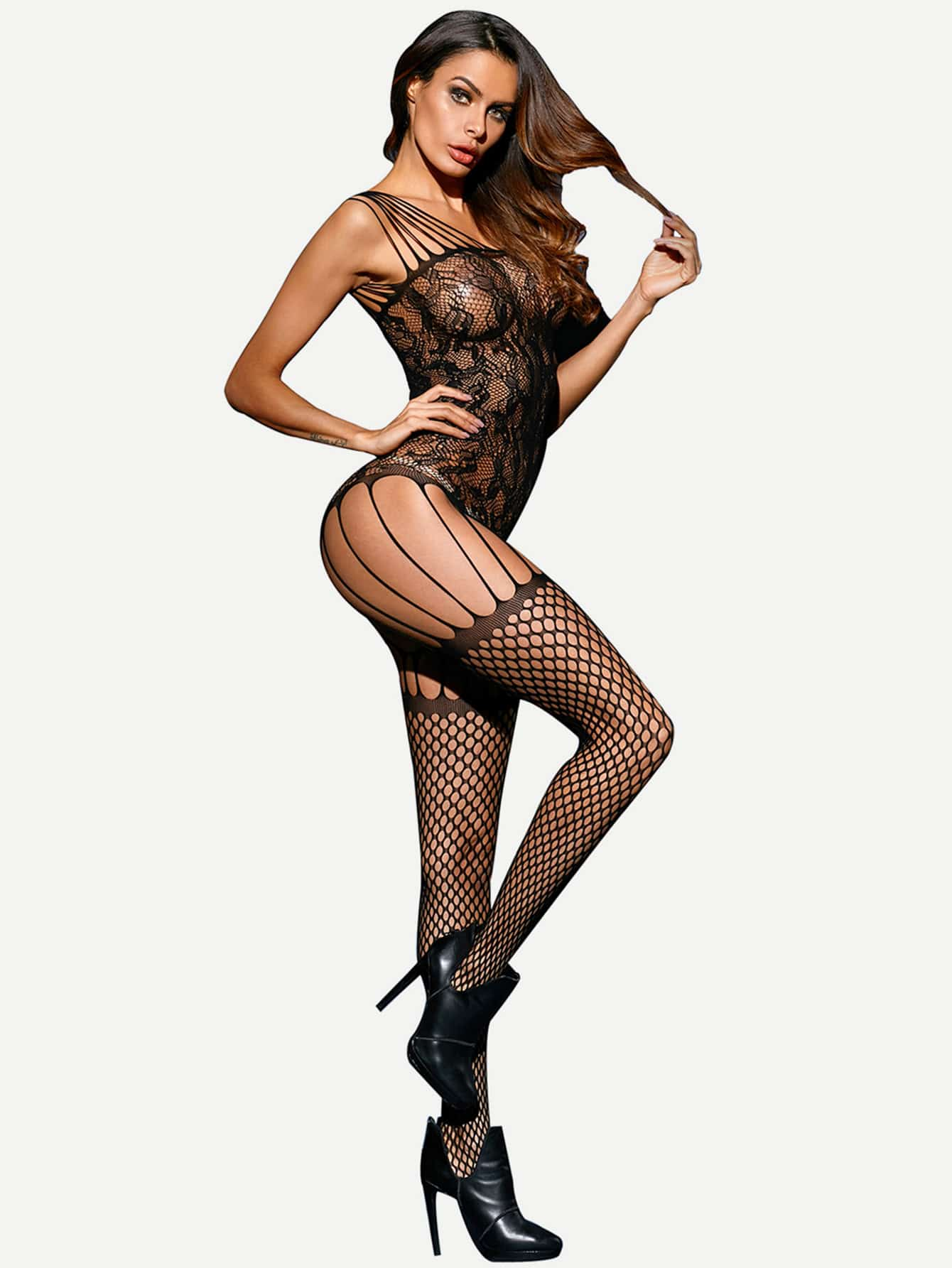 Open Crotch Strings Fishnet Bodystocking maxi cosi tobi black crystal