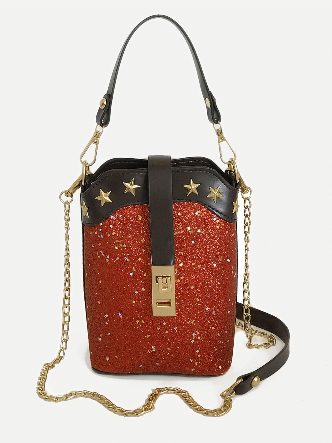 Star Detail Glitter Bucket bag