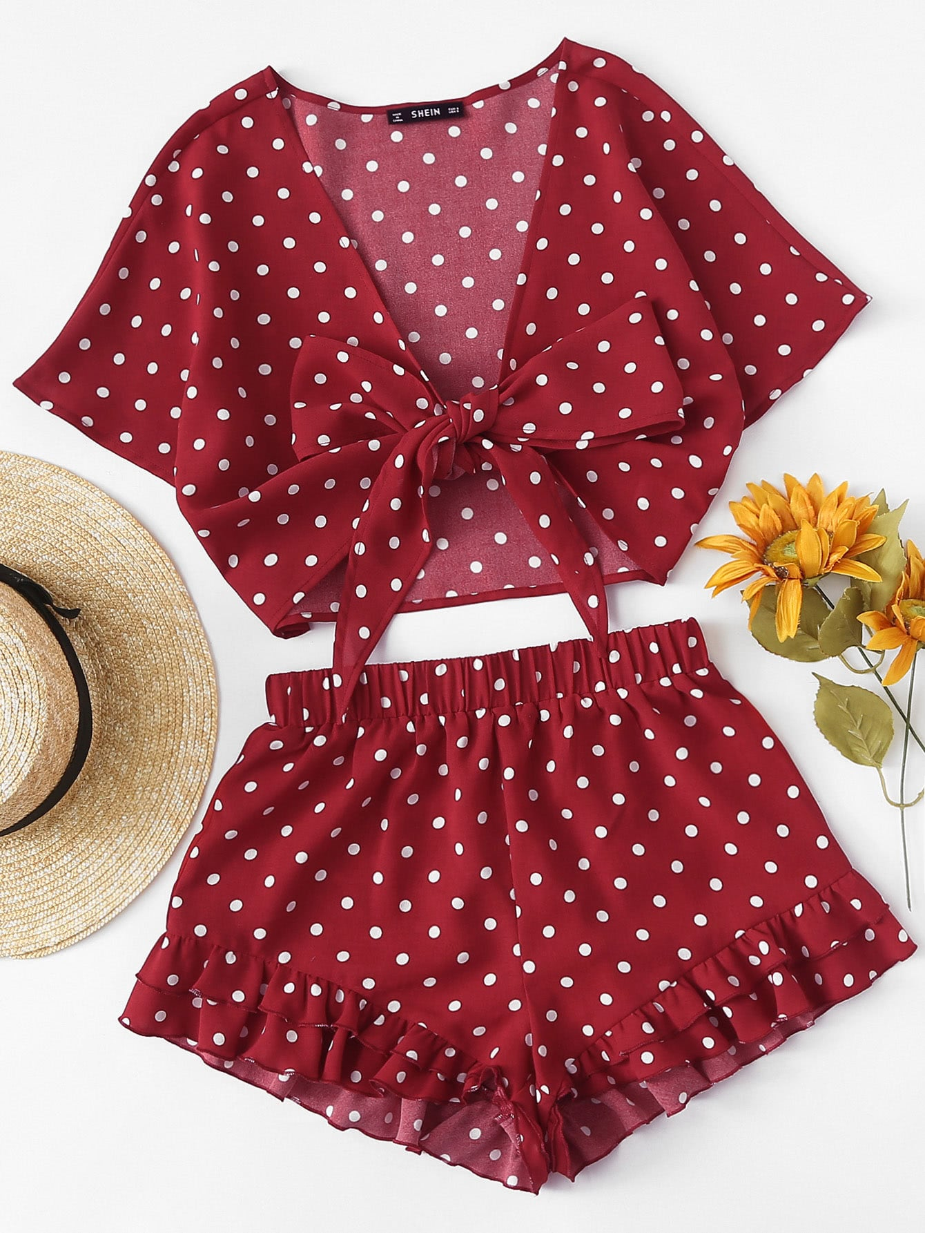 Polka Dot Knot Front Top And Ruffle Hem Shorts Set цена 2017