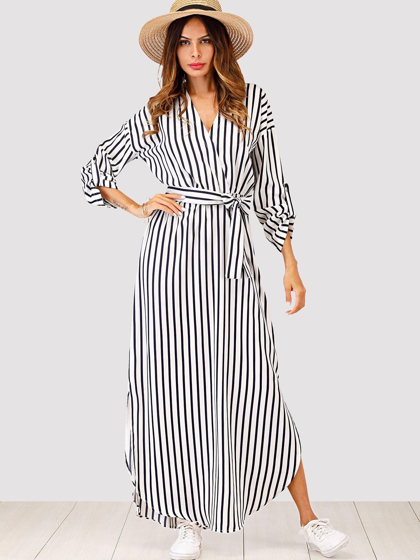 Striped Self Tie Waist Dress striped ruffled waist self tie pants