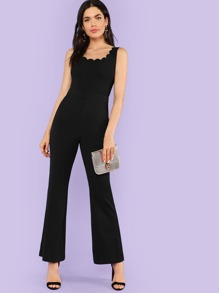 Scalloped Neck Tailored Flared Jumpsuit