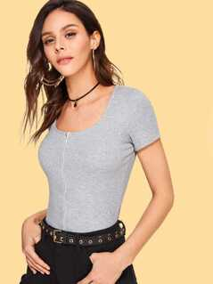 Zip Up Heather Knit Crop Tee