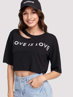 Letter Print Asymmetric Cutout Neck T-shirt