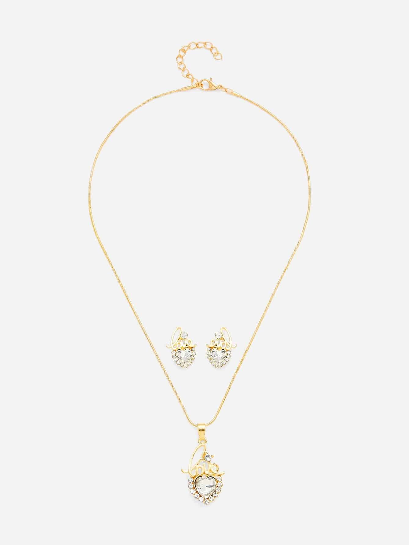 Heart Shaped Pendant Necklace & Stud Earring Set er 3789 stylish retro jewelled pendant earring navy blue 2 pcs