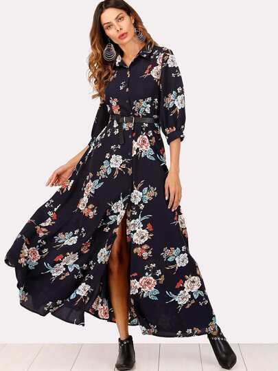 Single Breasted  Floral Print Split Dress